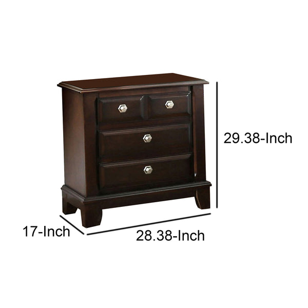 Litchville Contemporary Night Stand In Brown Cherry Finish - BM123250
