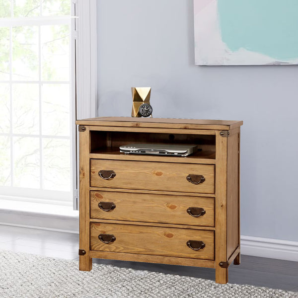 Cottage Style Wooden Media Chest with Three Drawers, Brown - BM123483