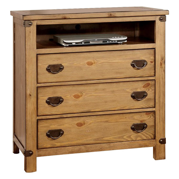 BM163540 Wooden TV Stand With Drawers, Dark Oak Brown