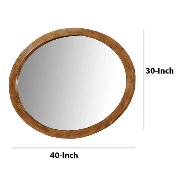 BM123538 Lennart Wall Mounted Oval Mirror In Oak Finish