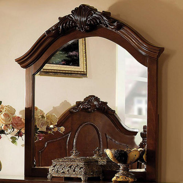 BM123568 Velda II Baroque Style Mirror In Brown Cherry Finish