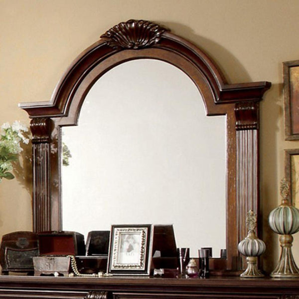 BM123625 Esperia Luxurious English Style Mirror , Brown Cherry