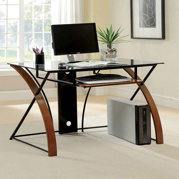 Baden Transitional Style Computer Desk , Oak and Black - BM123639