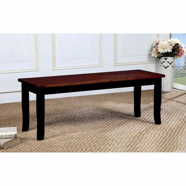 BM131122 Dover Transitional Bench Withwooden Seat, Cherry & Black Finish