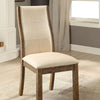 BM131126 Onway Contemporary Side Chair, Oak & Beige, Set Of 2