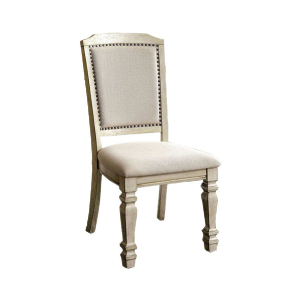 BM131136 Holcroft Transitional Side Chair, Antique White, Set Of Two