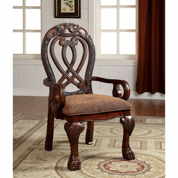 BM131195 Wyndmere Traditional Arm Chair, Cherry Finish, Set Of 2