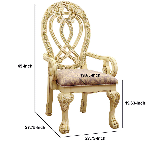 Traditional Wooden Arm Chair with Intricate Carvings, Set of 2,Gold and Brown - BM131197