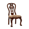BM131209 Elana Side Chair With Fabric, Brown Cherry Finish, Set Of 2