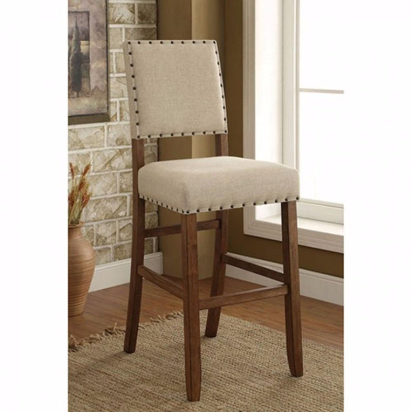 BM131232 Sania Rustic Bar Chair In Ivory Linen, Set Of 2