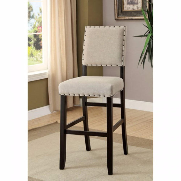 BM131233 Sania II Rustic Bar Chair In Ivory Linen, Black Set Of 2