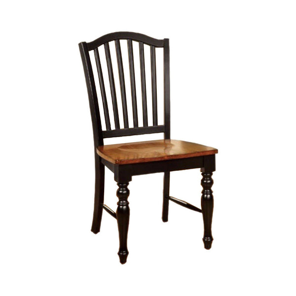 BM131268 Mayville Cottage Side Chair, Black & Antique Oak Finsh, Set Of 2