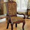 BM131293 Medieve Traditional Arm Chair, Cherry Finish, Set Of 2