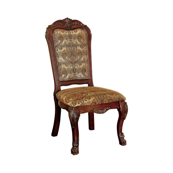 BM131294 Medieve Traditional Side Chair, Cherry Finish, Set Of Two