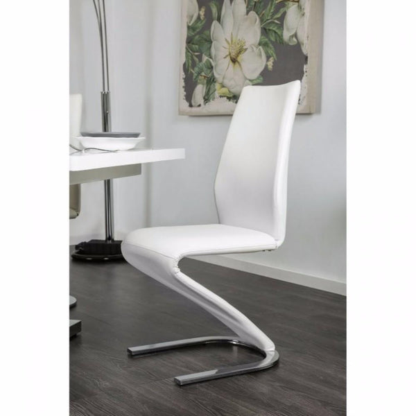 MIDVALE Contemporary Z Shaped Side Chair, White, Set Of 2 - BM131310