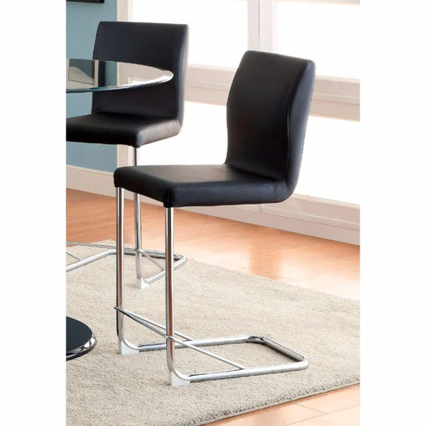BM131341 Lodia II Contemporary Counter Height Chair With Black Pu, Set Of 2
