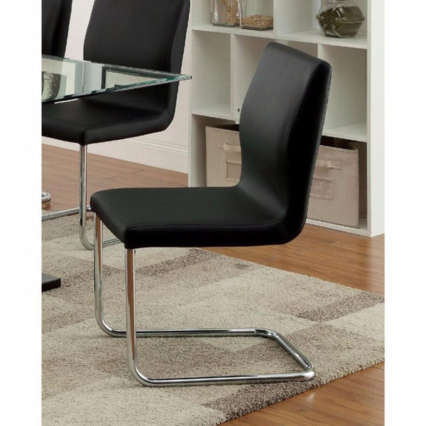 BM131342 Lodia I Contemporary Side Chair With Black Pu, Set Of 2