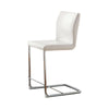 BM131343 Lodia II Contemporary Counter Height Chair Withwhite Pu, Set Of 2