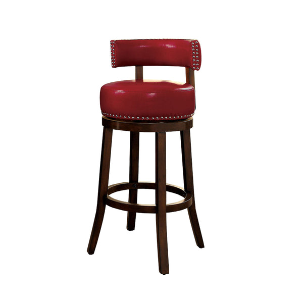 "BM131353 Shirley Contemporary 24"" Barstool Withpu Cushion, Red Finish, Set Of 2"