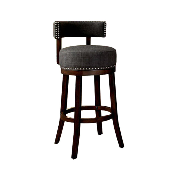 "BM131363 Lynsey 29""Barstool Withlinen Cushion, Gray Finish, Set Of 2"