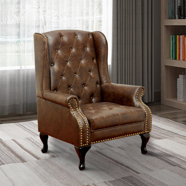 Vaugh Traditional Wing Accent Chair In Nail Head, Rustic Brown Finish - BM131410