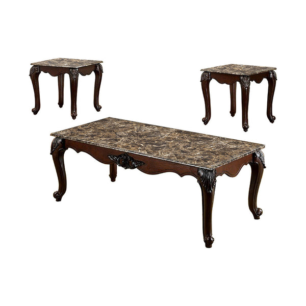BM131411 Traditional 3 Piece Coffee Table Set, Dark Cherry Brown