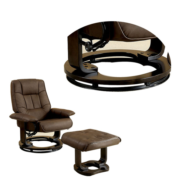 Modish Multifunctional Swivel Lounger Chair With Ottoman, Brown - BM131439