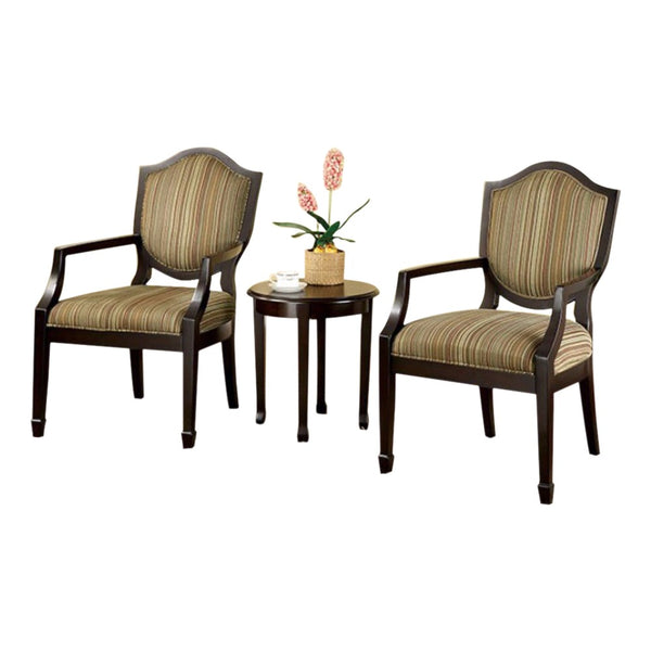 BM131998 Bernetta II Transitional Set Of Table & Accent Chairs, Espresso Finish, Set Of 3