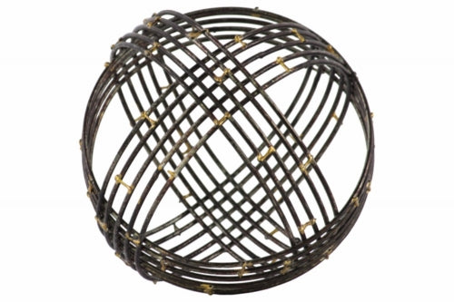 Metal Spherical Orb Decor with 10 Circles Large - Black- Benzara
