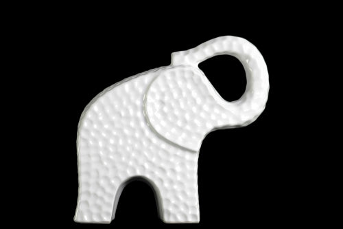 Edged Trumpeting Standing Elephant Figurine Small - White - Benzara
