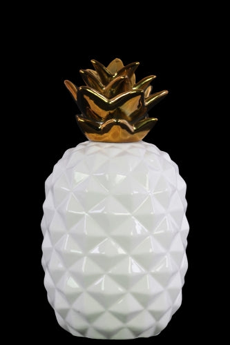 Ceramic Pineapple Figurine with Gold Top- Small- White- Benzara