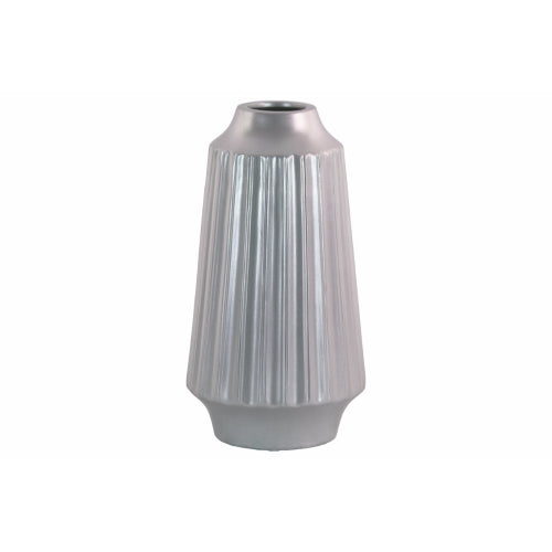 Round Vase with Round Lip Ribbed Design Body- Large- Silver- Benzara