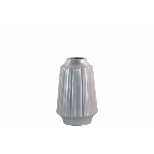 Round Vase with Round Lip Ribbed Design Body- Small- Silver- Benzara