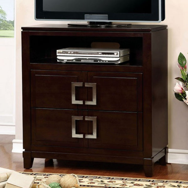 BM137480 Modern Style Spacious Wooden Media Chest, Cherry Brown