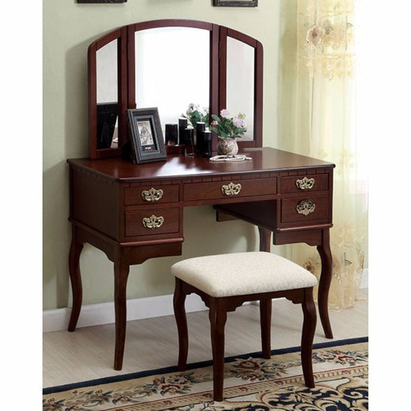BM138071 Spacious Solid Wood Vanity Table with Three Sided Mirror and Fabric Padded Stool, Brown