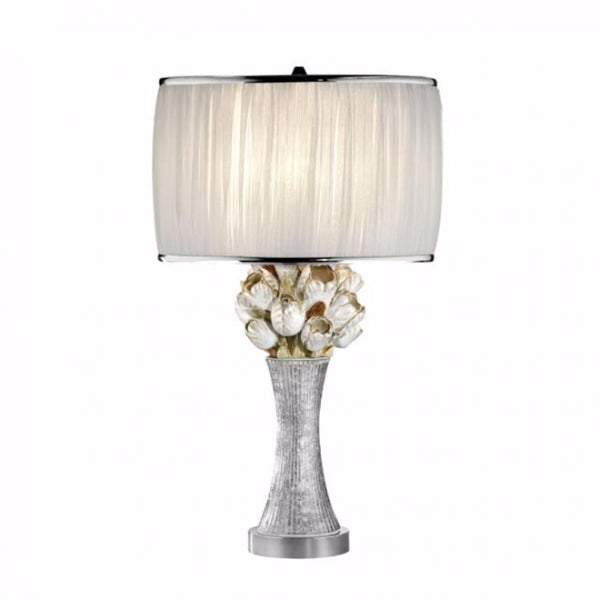 BM141730 Simone Table Lamp With Glitter Embellishments, White, Silver