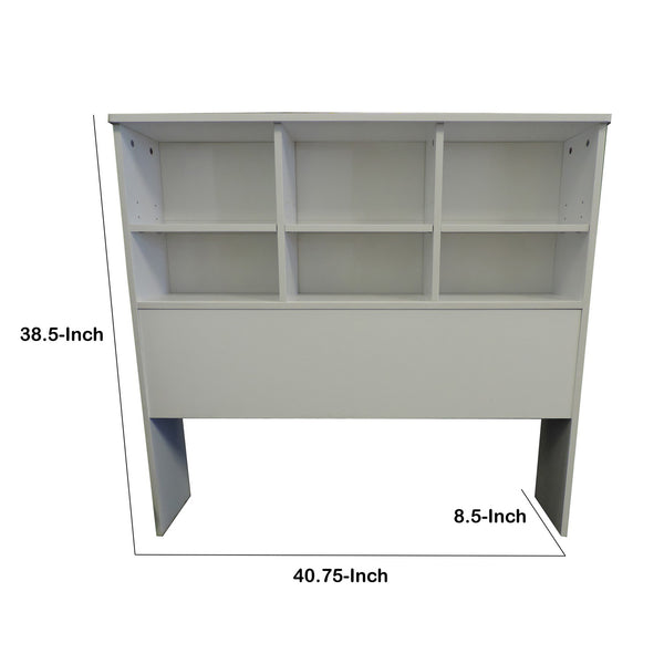 Wooden Twin Size Bookcase Headboard with 6 Open Shelves, White - BM141868