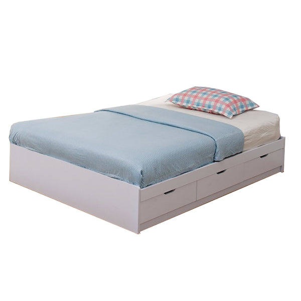 Benzara Contemporary Style Wooden Frame Full Size Chest Bed with 3 Drawers, White -BM141869