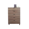 Spacious Brown Finish Chest With 5 Drawers On Metal Glides - BM141890