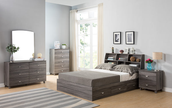 Contemporary Style Gray Finish Twin Size Bookcase Headboard With Six Shelves - BM141892