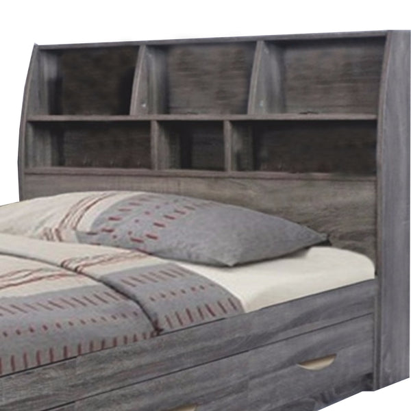 BM141892 Contemporary Style Gray Finish Twin Size Bookcase Headboard With Six Shelves