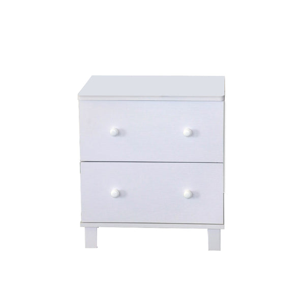BM141988 Urbane White Finish Nightstand With 2 Drawers On Metal Glides