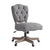 Armless Office Chair with Wooden Base and Tufting, Gray and Brown - BM144359
