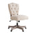 Armless Office Chair with Wooden Base and Tufting, Beige and Brown - BM144360