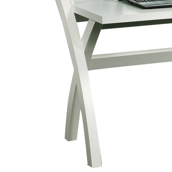 Sleek Contemporary Desk With Cross Legs, White - BM144453