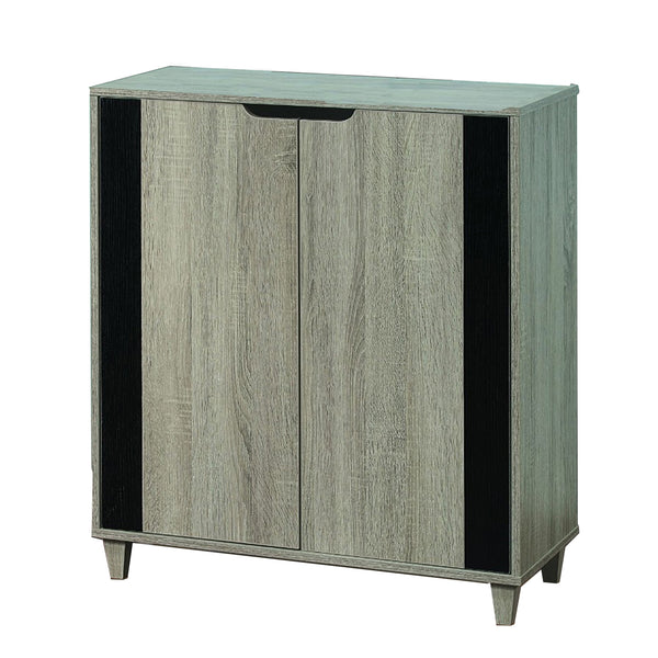 Stylish Shoe Cabinet With Cutout Handles, Black and Gray - BM144457