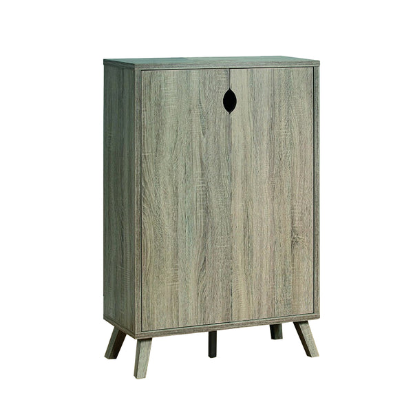 Roomy Shoe Cabinet With Flared Legs, Dark Taupe Finish - BM144464