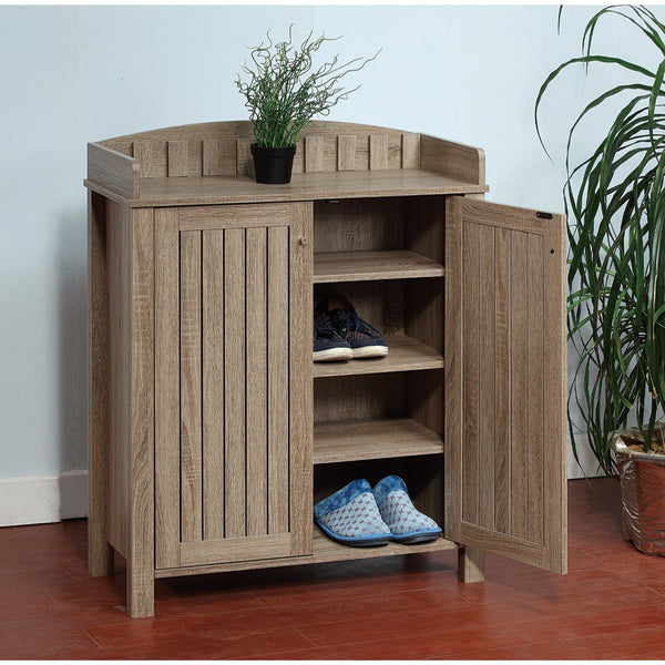 Slatted Pattern Shoe Cabinet With Molded Top, Brown - BM144465