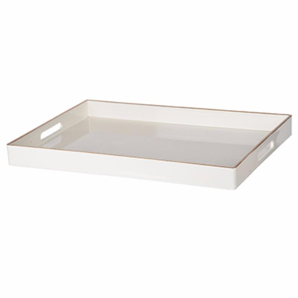 BM145590 Mimosa Rectangle Tray With Cutout Handles, White