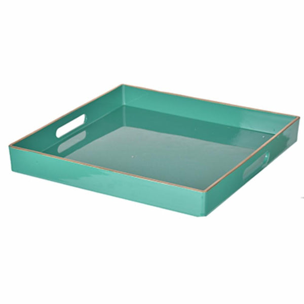 BM145601 Mimosa Square Tray With Cutout Handles, Green